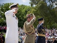 The Deputy Chiefs of the Navy, Army and Air Force salute the Stone of Remembrance, 2011.